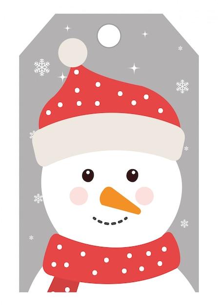 Frohe weihnachten süße schneemann charakter Kostenlosen Vektoren