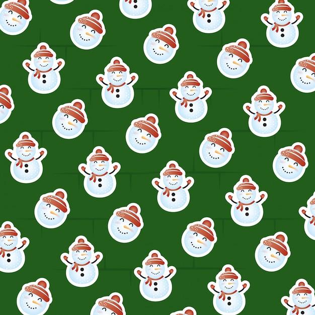 Frohe weihnachten-szene mit schneemann-muster Premium Vektoren