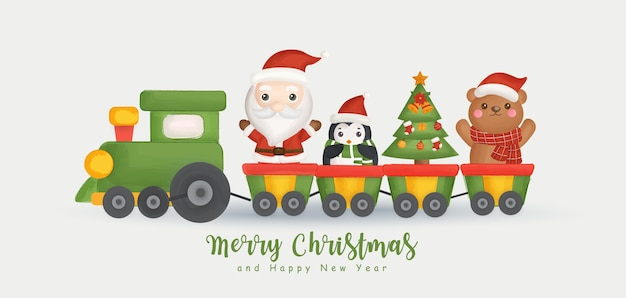 Frohe weihnachten und ein frohes neues jahr banner mit niedlichen weihnachtsmann und freunden. Premium Vektoren