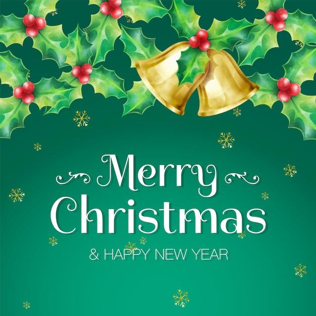 Frohe weihnachten und ein frohes neues jahr gruß banner verziert mit girlanden von stechpalme und goldenen glocken auf grünem hintergrund Premium Vektoren