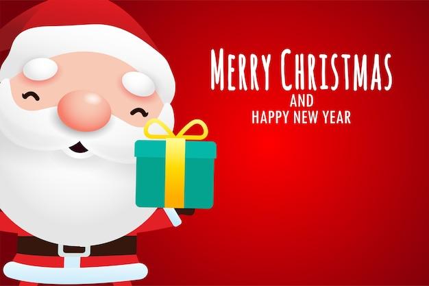 Frohe weihnachten und ein frohes neues jahr grußkarte mit niedlichen weihnachtsmann, der weihnachtsgeschenk hält Premium Vektoren