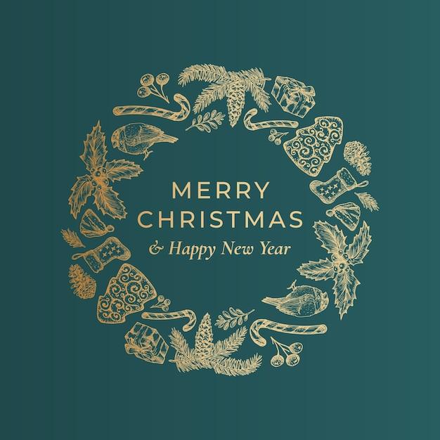Frohe weihnachten und ein frohes neues jahr hand gezeichnete skizze kranz, banner oder kartenvorlage. Kostenlosen Vektoren