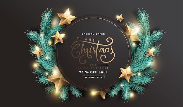Frohe weihnachten und ein frohes neues jahr verkauf hintergrund Premium Vektoren
