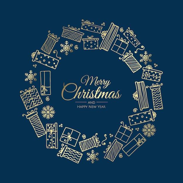 Frohe weihnachten und ein glückliches neues jahr. girlande der geschenke Premium Vektoren