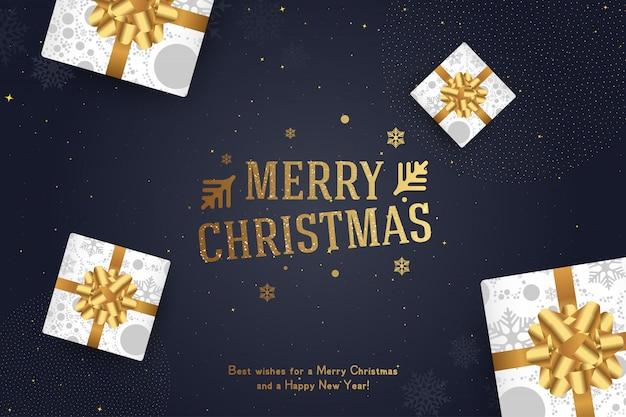 Frohe weihnachten und ein glückliches neues jahr. grußkarte mit einer aufschrift und geschenken mit bögen und bändern Premium Vektoren
