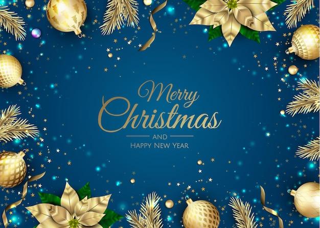 Frohe weihnachten und ein glückliches neues jahr. weihnachtshintergrund mit weihnachtsstern, schneeflocken, stern und kugeln design. grußkarte, feiertagsbanner, webplakat Premium Vektoren