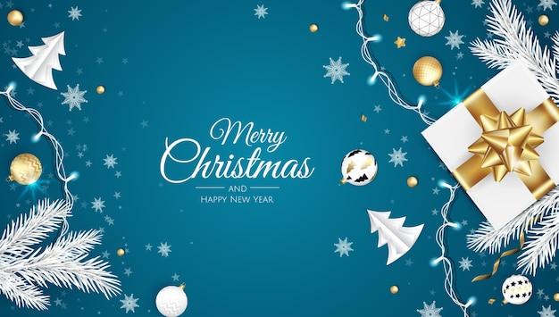 Frohe weihnachten und ein glückliches neues jahr. weihnachtshintergrund mit weihnachtsstern, schneeflocken, stern und kugeln. grußkarte, feiertagsbanner, webplakat Premium Vektoren