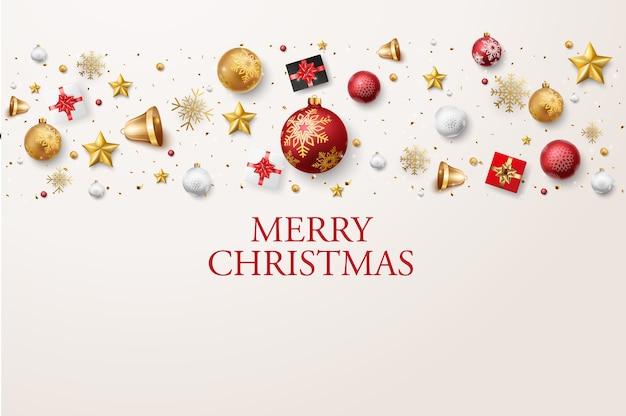 Frohe weihnachten und ein gutes neues jahr banner mit roten und goldenen kugeln und konfetti Premium Vektoren