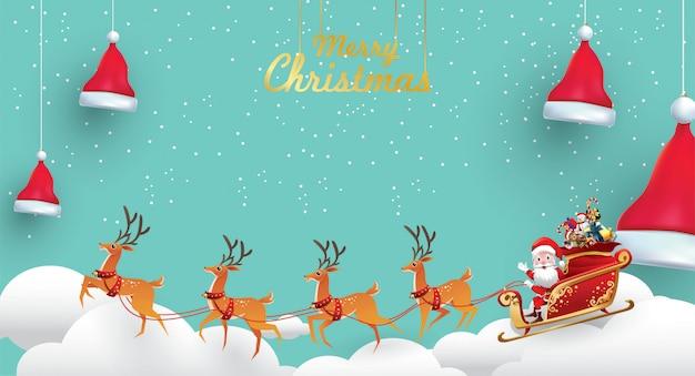 Frohe weihnachten und ein gutes neues jahr. der weihnachtsmann reitet mit einem sack den rentierschlitten Premium Vektoren