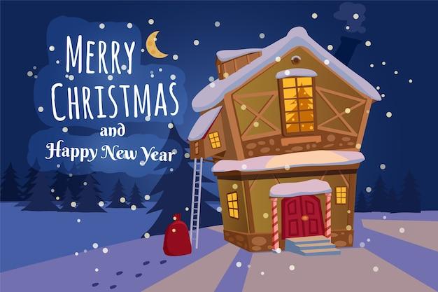 Frohe weihnachten und ein gutes neues jahr dorfhaus mit schneefall. Premium Vektoren