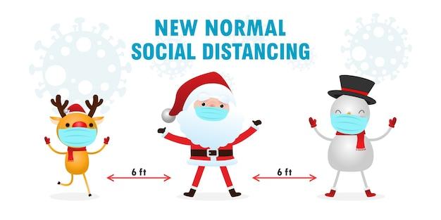 Frohe weihnachten und ein gutes neues jahr für eine neue normalität mit sozialer distanzierung Premium Vektoren
