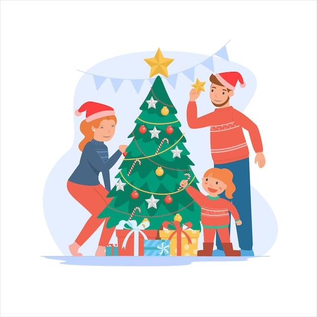 Frohe weihnachten und ein gutes neues jahr für eltern und kinder. Kostenlosen Vektoren
