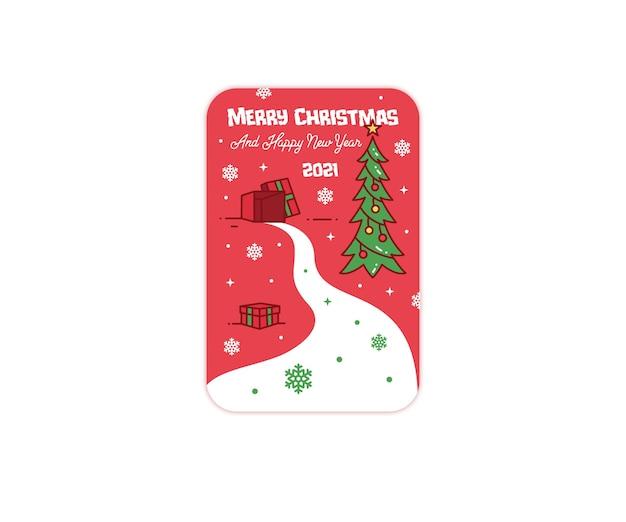 Frohe weihnachten und ein gutes neues jahr geschenk grußkarte Premium Vektoren