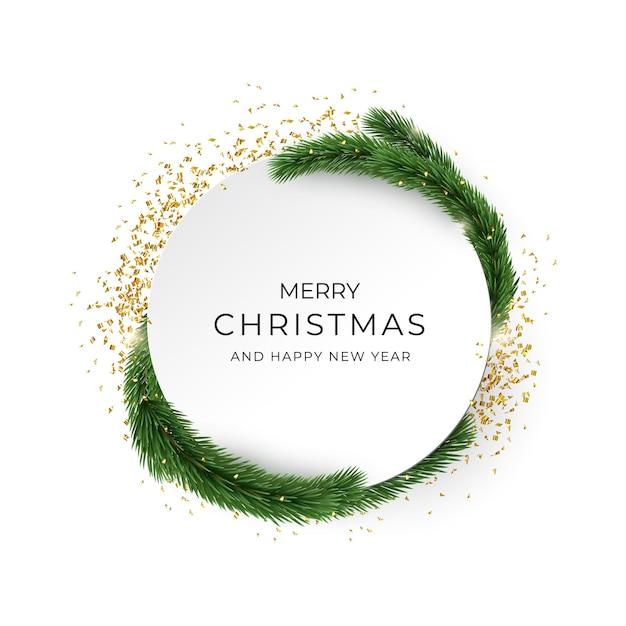 Frohe weihnachten und ein gutes neues jahr grußkarte. goldene konfetti und tannenbrunchs Premium Vektoren