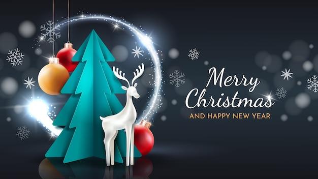 Frohe weihnachten und ein gutes neues jahr grußkarte. papierschnitt vektorgrafiken. Premium Vektoren