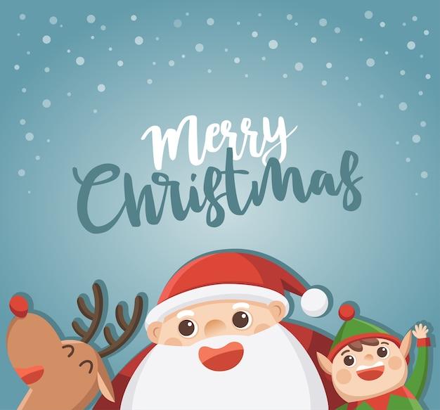 Frohe weihnachten und ein gutes neues jahr grußkarte. weihnachtsmann mit elfe und rentier. Premium Vektoren