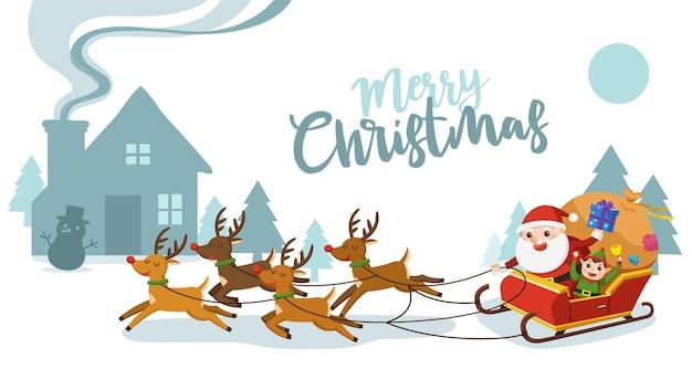 Frohe weihnachten und ein gutes neues jahr grußkarte. weihnachtsmann reitet im schlitten mit rentieren. Premium Vektoren