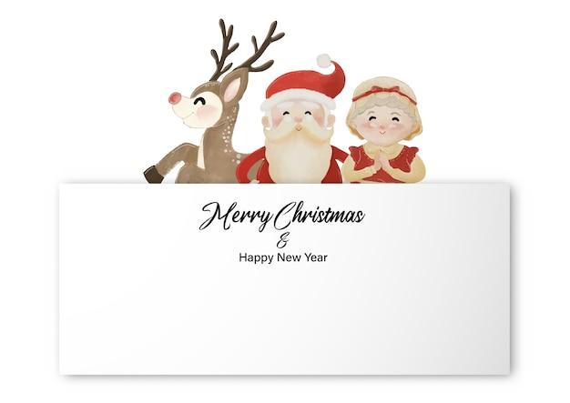 Frohe weihnachten und ein gutes neues jahr mit dem weihnachtsmann, frau claus und rentier, die hinter dem weißen etikett stehen. aquarellentwurf auf weißer hintergrundillustration Premium Vektoren
