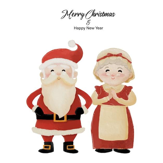 Frohe weihnachten und ein gutes neues jahr mit dem weihnachtsmann und seiner frau frau claus, die zusammen stehen. aquarellentwurf auf weißem hintergrund Premium Vektoren