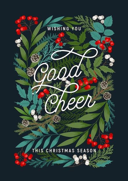 . frohe weihnachten und ein gutes neues jahr mit stechpalmen- und ebereschenbeeren, zapfen, kiefern- und tannenzweigen, winterpflanzen. Premium Vektoren