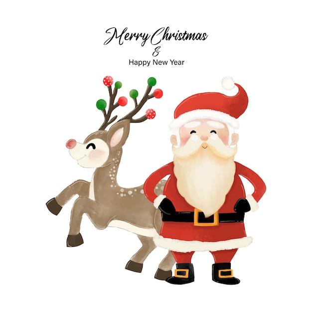 Frohe weihnachten und ein gutes neues jahr mit weihnachtsmann und rentier. aquarellentwurf auf weißer hintergrundillustration Premium Vektoren