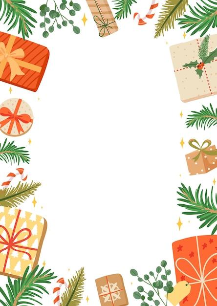 Frohe weihnachten und ein gutes neues jahr rahmen. Premium Vektoren