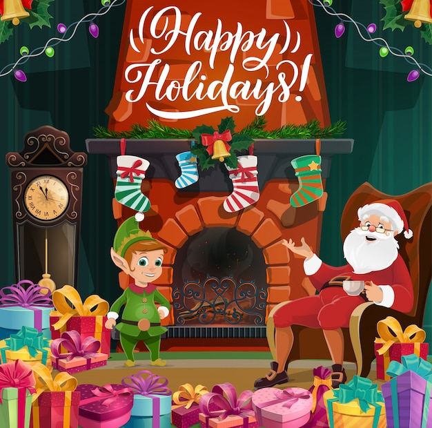 Frohe weihnachten und ein gutes neues jahr, santa und elf Premium Vektoren