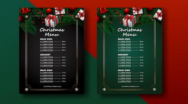 Frohe weihnachten und ein gutes neues jahr, weihnachtsbaumzweige und ornamenthintergrund Premium Vektoren