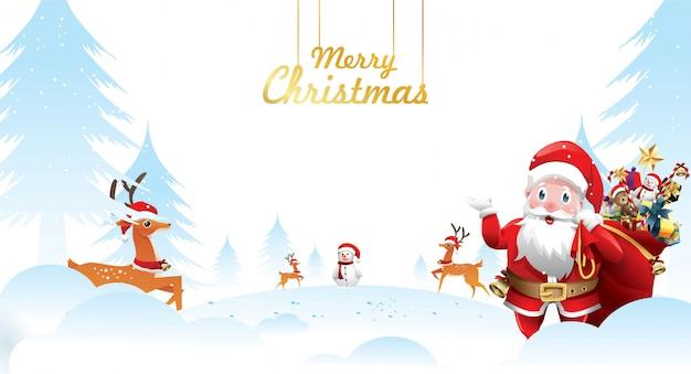 Frohe weihnachten und ein gutes neues jahr. weihnachtsmann winkt mit einem sack geschenken Premium Vektoren