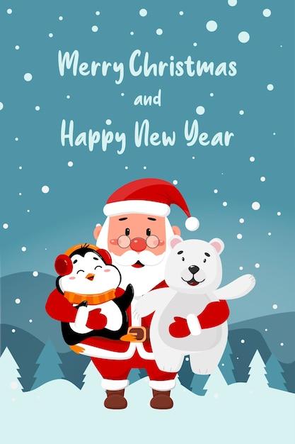 Frohe weihnachten und ein gutes neues jahr. weihnachtsmannpinguin und eisbär auf einer winterlandschaft Premium Vektoren