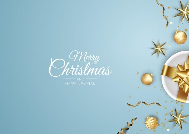 Frohe weihnachten und frohes neues jahr urlaub weiße banner illustration. Premium Vektoren