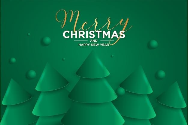 Frohe weihnachten und glückliches neues jahr 2021 karte mit elegantem 3d weihnachtsbaum Kostenlosen Vektoren