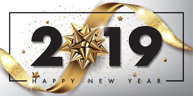 Frohe weihnachten und guten rutsch ins neue jahr 2019 Premium Vektoren