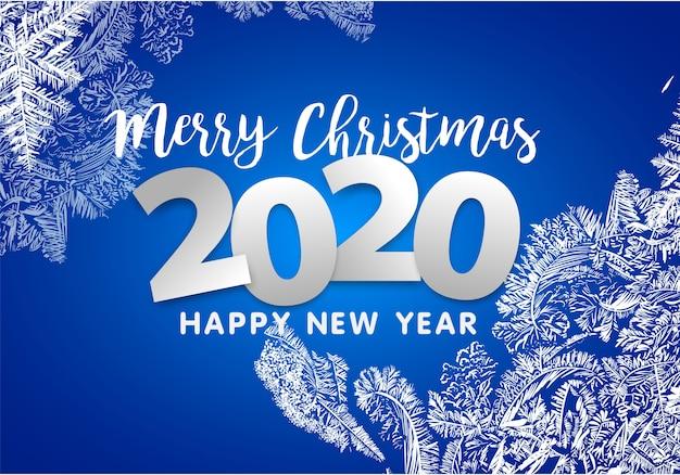 Frohe weihnachten und guten rutsch ins neue jahr 2020. schneeflockendekoration Premium Vektoren