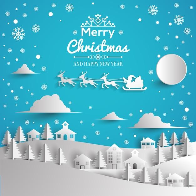 Frohe weihnachten und guten rutsch ins neue jahr grußkarte papierstil Premium Vektoren