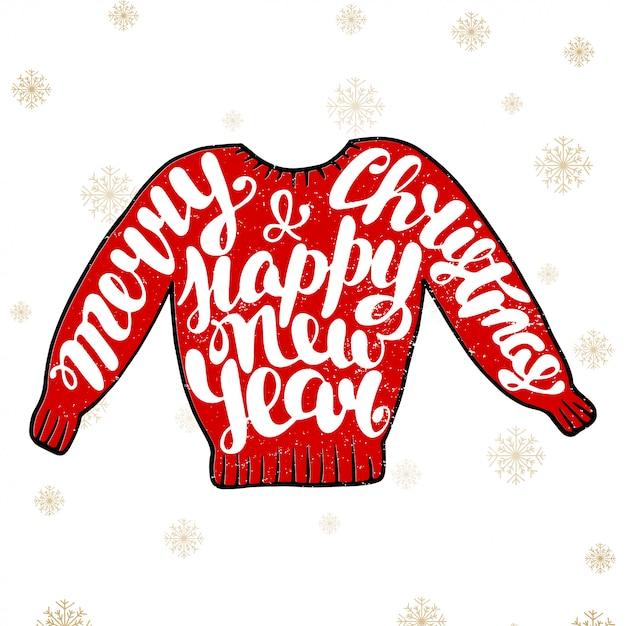Frohe weihnachten und guten rutsch ins neue jahr in der roten strickjacke Premium Vektoren