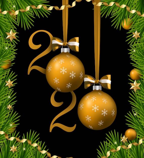 Frohe weihnachten und happy new year banner mit bällen und bändern und bögen. weihnachtsbaumrand mit goldenen dekorationen. Premium Vektoren