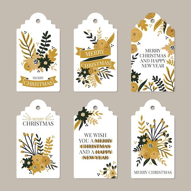 Frohe weihnachten und happy new year etiketten Premium Vektoren