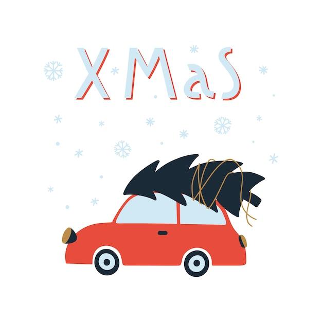 Frohe weihnachten und happy new year-grußkarte. Premium Vektoren