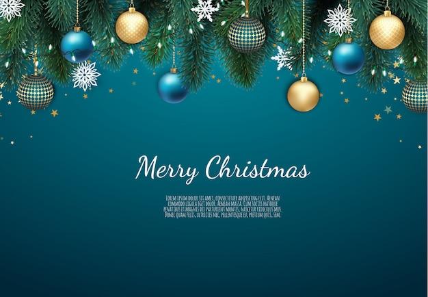 Frohe weihnachten und happy new year hintergrund Premium Vektoren