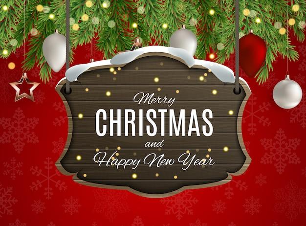 Frohe weihnachten und happy new year poster Premium Vektoren
