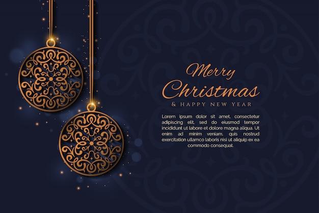 Frohe weihnachten und neues jahr mit einem dekorativen ballvektor Premium Vektoren