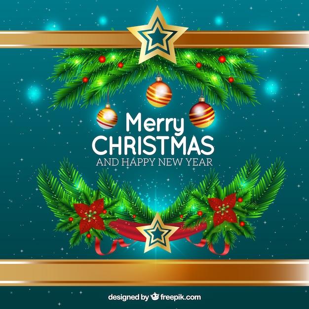 frohe weihnachten und neujahr hintergrund mit ornamenten. Black Bedroom Furniture Sets. Home Design Ideas