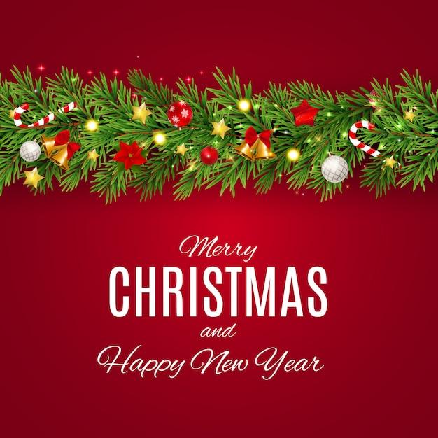 Frohe weihnachten und neujahr hintergrund Premium Vektoren