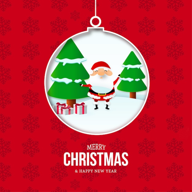 Frohe weihnachten und neujahr karte mit ball und weihnachtslandschaft Kostenlosen Vektoren