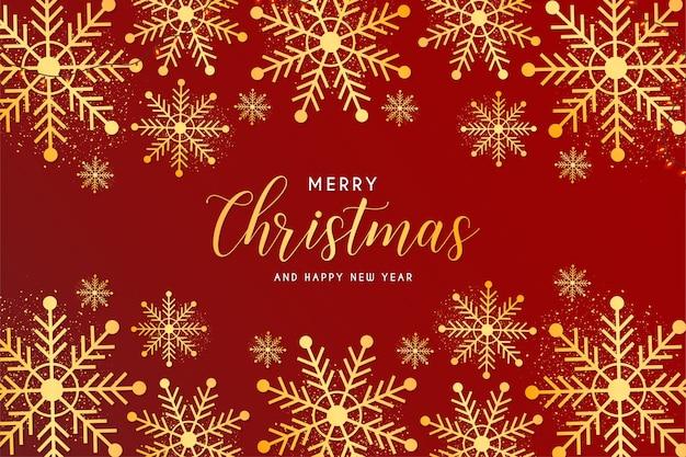 Frohe weihnachten und neujahr karte mit schneeflocken goldenen rahmen Kostenlosen Vektoren
