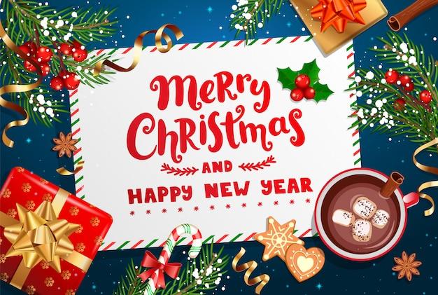 Frohe weihnachten und neujahr wünschen brief. Premium Vektoren