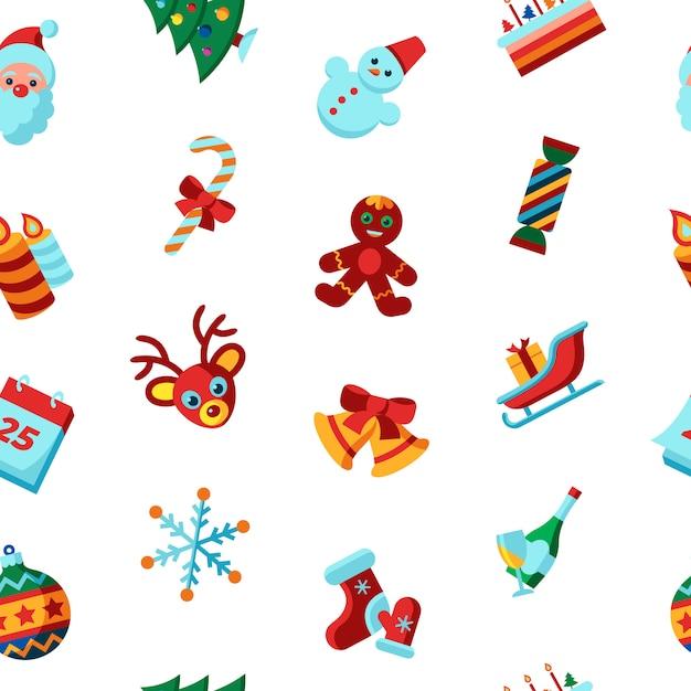 Frohe Weihnachten und Winterurlaub-Ikonensammlung Premium Vektoren