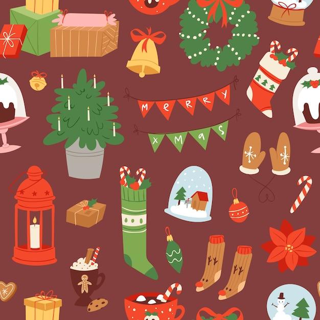 Frohe weihnachten und winterurlaub skandinavische objekte cartoon nahtlose muster. Premium Vektoren
