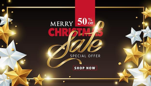 Frohe weihnachten verkauf hintergrund mit gold und silber sternen verziert. Premium Vektoren